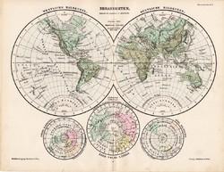 Világtérkép 1885, eredeti, német nyelvű, osztrák atlasz, Kozenn, térkép, félteke, félgömb, világ
