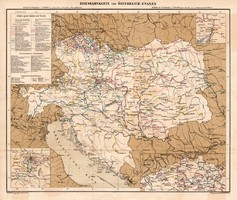 Osztrák - Magyar Monarchia vasúti térkép 1885, eredeti, német nyelvű, osztrák atlasz, Kozenn, vasút