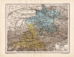 Felső - Ausztria térkép 1885, eredeti, német nyelvű, osztrák atlasz, Kozenn, Salzburg, monarchia