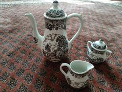 Antik angol fajansz kiöntő tejkiöntővel, cukortartóval, 3 porcelán