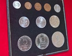 Egyedi dísztokos (Kabinet sor szerű doboz) Forint - fillér 1946-1947-1948 UNC sor egyben
