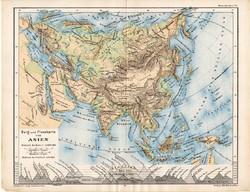 Ázsia térkép 1885, eredeti, német nyelvű, osztrák atlasz, Kozenn, kelet, Kína, India, hegy, vízrajz