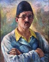 Szemüveges férfi portréja..Magyar festő. 1920 körül !