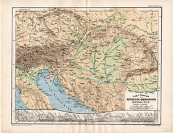 Osztrák - Magyar Monarchia térkép 1885, eredeti, német nyelvű, osztrák atlasz, Kozenn, hegy, vízrajz
