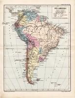 Dél - Amerika térkép 1885, eredeti, német nyelvű, osztrák atlasz, Kozenn, politikai, Brazília, Chile