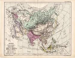 Ázsia politikai térkép 1885, eredeti, német nyelvű, osztrák atlasz, Kozenn, kelet, Kína, India