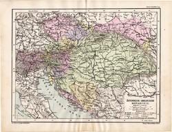 Osztrák - Magyar Monarchia térkép 1885, eredeti, német nyelvű, osztrák atlasz, Kozenn, politikai