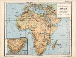 Afrika térkép 1885, eredeti, német nyelvű, osztrák atlasz, Kozenn, hegy, vízrajz, Szahara, Kalahári