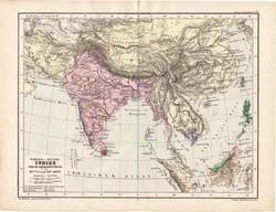 Ázsia, India térkép 1885, eredeti, német nyelvű, osztrák atlasz, Kozenn, kőzép, kelet, politikai