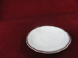 KAHLA német porcelán teáscsésze  alátét, hófehér, vastag arany szegéllyel.