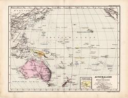 Ausztrália és Polinézia térkép 1885, eredeti, német nyelvű, osztrák atlasz, Kozenn, politikai, régi