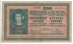 "200 korona 1918 ""B"" sorozat 2. Nagyon ritka"