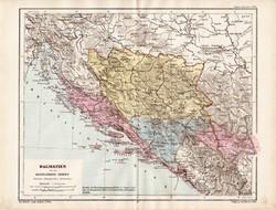 Dalmácia térkép 1885, eredeti, német nyelvű, osztrák atlasz, Kozenn, Európa, Bosznia, Hercegovina