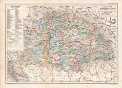 Magyar Korona országai térkép 1885, eredeti, német nyelvű, osztrák atlasz, Kozenn, Magyarország