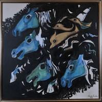 Szántó Piroska (1913-1998): A tenger lovai, gobelin terv