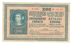 "200 korona 1918 ""B"" sorozat 1. Nagyon ritka"