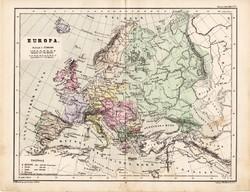 Európa politikai térkép 1885, eredeti, német nyelvű, osztrák atlasz, Kozenn, monarchia, régi
