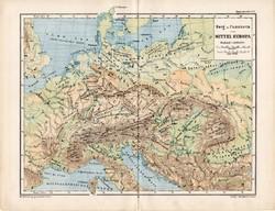 Közép - Európa térkép 1885, eredeti, német nyelvű, osztrák atlasz, Kozenn, hegy, vízrajz, monarchia