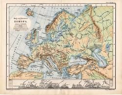 Európa térkép 1885, eredeti, német nyelvű, osztrák atlasz, Kozenn, hegy, vízrajz, hegység, magasság