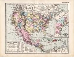 Egyesült Államok térkép 1885, eredeti, német nyelvű, osztrák atlasz, Kozenn, Mexikó, Közép - Amerika