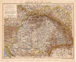 Magyarország és Galícia térkép 1899 (2), német nyelvű, eredeti, lexikon melléklet, Brockhaus, régi