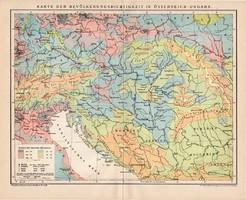 Osztrák - Magyar Monarchia népsűrűség térkép 1899, német nyelvű, eredeti, Brockhaus, nép, népesség