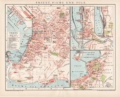 Trieszt, Fiume és Pola térkép 1894, német nyelvű, eredeti, Brockhaus, lexikon melléklet, Európa
