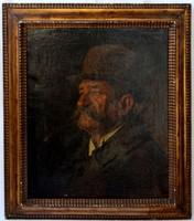 Antik férfi portré, olaj vászon, eredeti keretében