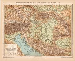 Osztrák - Magyar Monarchia hegy - és vízrajzi térkép 1899, német nyelvű, eredeti, Brockhaus, régi