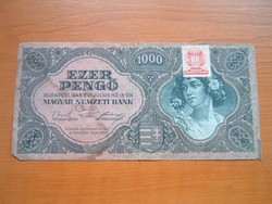 1000 PENGŐ 1945 MNB BÉLYEGGEL #