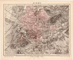 Athén térkép 1892, német nyelvű, eredeti, Brockhaus, lexikon melléklet, Európa, Görögország, hellász