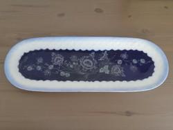 Román ovális virágos kék fehér porcelán süteményes kínáló tál