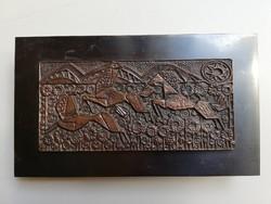 Retro lovas motívumos iparművészeti réz cigaretta tartó doboz