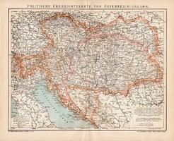 Osztrák - Magyar Monarchia politikai térkép 1900, német nyelvű, eredeti, Brockhaus, Magyarország
