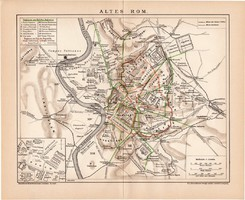 Ókori Róma térkép 1899, német nyelvű, eredeti, Brockhaus, lexikon melléklet, Európa, Itália, olasz