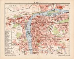 Prága térkép 1900, német nyelvű, eredeti, Brockhaus, lexikon melléklet, Európa, Csehország, főváros