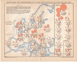 A világ vasúthálózatainak fejlődése 1830 - 1890, térkép 1899, német, eredeti, vasút, Európa, ország
