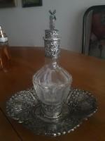 Ezüst Holland vagy Német vágott kristály pálinkás üveg+tálka