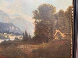 Hatalmas Alpesi tájkép a XIX. századból