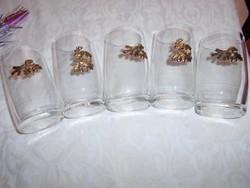 5 db    vadász motívumokkal  on rátéttel díszített pohár 2 dl-es