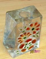 Öntött üveg gyertyatartó matyó mintával