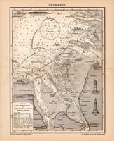 Tenger térkép (Seekarte) 1900, német nyelvű, eredeti, Brockhaus, lexikon melléklet, Európa, Elba