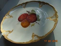 FÜRSTENBERG(az első európai manufaktúra Meissen után)antik gyümölcs mintás tál barokk arany peremmel
