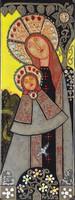 0X247 Kátai Mihály : Madonna gyermekével tűzzománc