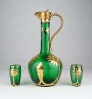 0X748 Régi aranyozott zöld italos üveg készlet