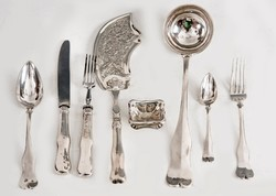 Ezüst antik bécsi 12 személyes evőeszközkészlet