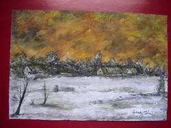 Téli táj, tanyával, karton, tempera 20 x 29 cm - Lehoczky József