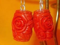 Faragott Rózsa Cinóber Gyöngy kézműves 925 ezüst Fülbevaló
