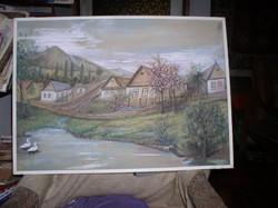 Mátra alja- 50 x 70 cm guache-tempera festmény, karton. keret nélkül,Lehoczky