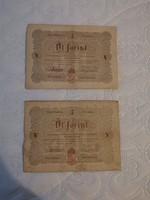 """1848 10 Forint és 2 db 5 Forint BARNA """" Büntettetnek"""" mind 3"""